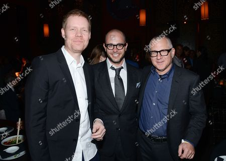 """Composer Max Richter, left, co-creators and executive producers Damon Lindelof and Tom Perrotta, right, attend HBO's """"The Leftovers"""" season premiere after party at TAO on in New York"""