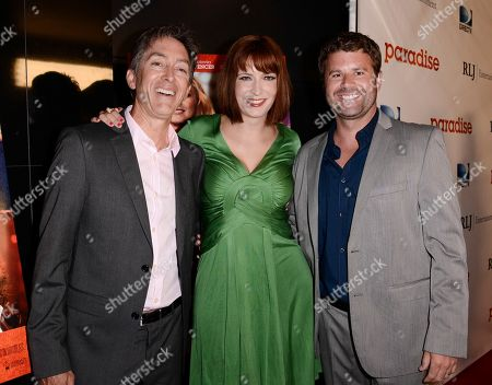 """RLJ Entertainment Chief Acquisitions Officer Bill Bromiley, left, writer and director Diablo Cody, center, and RLJ Entertainment VP of Acquisitions Mark Ward arrive on the red carpet at a special screening of the feature film """"Paradise"""" at the Chinese 6 Theater on in Los Angeles"""