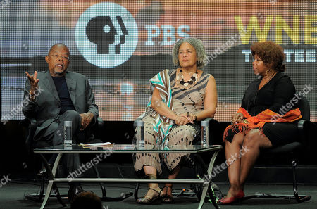 "Henry Louis Gates Jr., left, executive producer of ""The African Americans: Many Rivers to Cross with Henry Louis Gates Jr.,"" journalist Charlayne Hunter-Gault, center, and civil rights icon Ruby Bridges take part in a panel discussion on the show at the PBS Summer 2013 TCA press tour at the Beverly Hilton Hotel on in Beverly Hills, Calif"