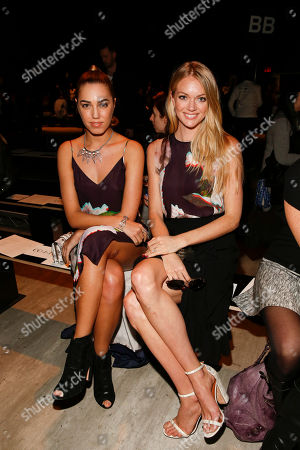 Stock Picture of Lindsay Ellingson and Amber Lebon seen on the front row during Rebecca Minkoff during MBFW Fall/Winter 2015 at the pavilion at Lincoln Center on in New York