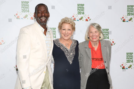 Ron Finley, left, Bette Midler, center, and Liz Smith attend the New York Restoration Project's 13th Annual Spring Picnic at Riverside Park, in New York