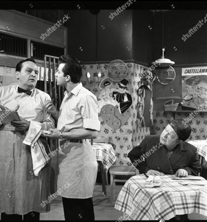 Stock Picture of Steve Plytas (as Leo Bonarti), Frank Coda (as Mario Bonarti) and Violet Carson (as Ena Sharples)