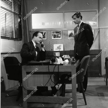 Stock Photo of Barry Letts (as Mr Wentworth) and William Roache (as Ken Barlow)