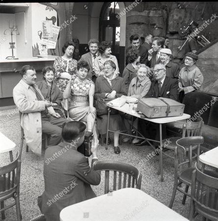 Coronation Street visit to Blackpool. Photocall, Back row, l to r Robin Wentworth (as Arthur Dewhurst), Angela Crow (as Doreen Lostock, Pat Phoenix (as Elsie Tanner), Violet Carson (as Ena Sharples), Doris Speed (as Annie Walker) and Arthur Leslie (as Jack Walker) Back row, l to r Joan Francis (as Dorothy Greenhalgh), Peter Adamson (as Len Fairclough), Doreen Keogh (as Concepta Hewitt), Jennifer Moss (as Lucille Hewitt), Ivan Beavis (as Harry Hewitt), Kenneth Farrington (as Billy Walker), Margot Bryant (as Minniw Caldwell) and Lynne Carol (as Martha Longhurst)