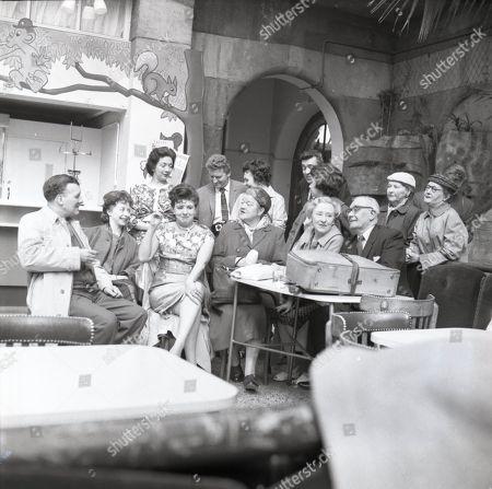 Coronation Street visit to Blackpool Robin Wentworth (as Arthur Dewhurst), Angela Crow (as Doreen Lostock, Pat Phoenix (as Elsie Tanner), Violet Carson (as Ena Sharples), Doris Speed (as Annie Walker) and Arthur Leslie (as Jack Walker) Back row, l to r Joan Francis (as Dorothy Greenhalgh), Peter Adamson (as Len Fairclough), Doreen Keogh (as Concepta Hewitt), Jennifer Moss (as Lucille Hewitt), Ivan Beavis (as Harry Hewitt), Kenneth Farrington (as Billy Walker), Margot Bryant (as Minniw Caldwell) and Lynne Carol (as Martha Longhurst)