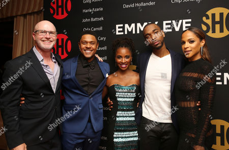 """David Hollander, Executive Producer for """"Ray Donovan"""", Pooch Hall, Shanola Hampton, Jay Pharoah and Megalyn Echikunwoke seen at Showtime's Emmy Eve at the Sunset Tower, in Los Angeles"""