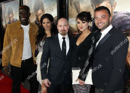 """From left, Peter Mensah, Katrina Law, creator Steven S. DeKnight, Marisa Ramirez, and Nick Tarabay pose together at the premiere of """"Spartacus: War of the Damned"""" on in Los Angeles. """"Spartacus: War of the Damned"""" premieres Friday, Jan. 25 at 9PM on STARZ"""