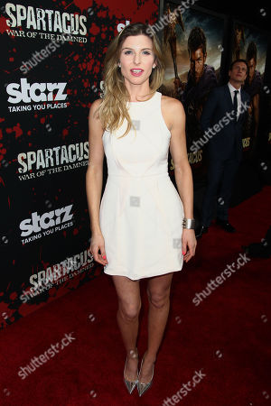 """Viva Bianca arrives at the premiere of """"Spartacus: War of the Damned"""" on in Los Angeles. """"Spartacus: War of the Damned"""" premieres Friday, Jan. 25 at 9PM on STARZ"""