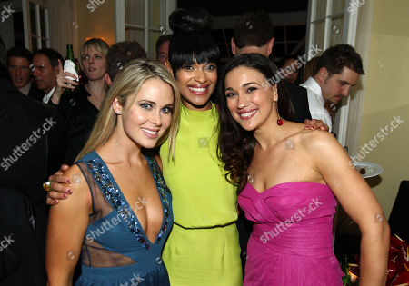 """Anna Hutchison, left, Cynthia Addai-Robinson, center, and Jenna Lind, pose together at the after party for the premiere of """"Spartacus: War of the Damned"""" on in Los Angeles. """"Spartacus: War of the Damned"""" premieres Friday, Jan. 25 at 9PM on STARZ"""