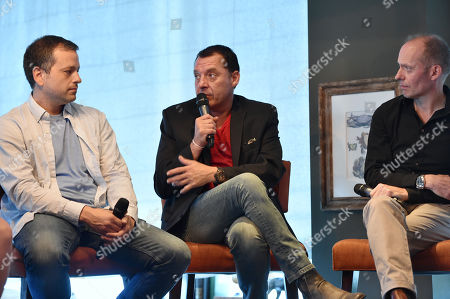 "Stock Image of Aaron Guzikowski, and from left, Tom Sizemore and Hugo Blick, creator/producer/writer/director, The Honorable Woman, attend the SundanceTV luncheon and panel with the creators and cast behind their scripted original series' ""Rectify"", ""The Honorable Woman"" and ""The Red Road"" for a discussion around the popularity of creator-driven television, in Los Angeles"