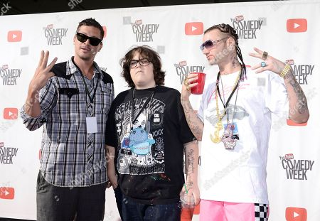 "From left to right, actor Simon Rex, actor Andy Milonakis, and Riff Raff of the rap trio ""Three Loco"" arrive at YouTube Comedy Week's ""The Big Live Comedy Show"" at The Culver Studios on in Culver City, Calif"