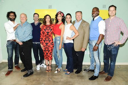 Jason Mantzoukas, from left, Dirk Blocker, Andy Samberg, Chelsea Peretti, Stephanie Beatriz, Melissa Fumero, Joel McKinnon Miller, Terry Crews and Dan Goor arrive at the 'Brooklyn Nine-Nine' FYC event held at UCB Theatre, in Los Angeles