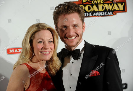 """Actress Marin Mazzie, left, and Jason D. Danieley attend the after party for the opening night of """"Bullets Over Broadway"""" at The Metropolitan Museum of Art on in New York"""