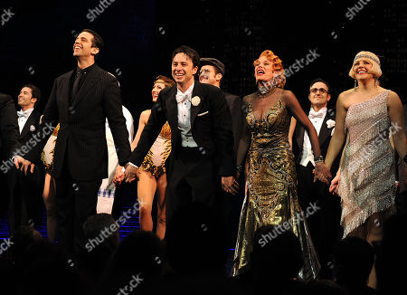 """Actor Nick Cordero, left, Zach Braff, Marin Mazzie and Betsy Wolfe on stage during the curtain call for the opening night of """"Bullets Over Broadway"""" at the St James Theatre on in New York"""