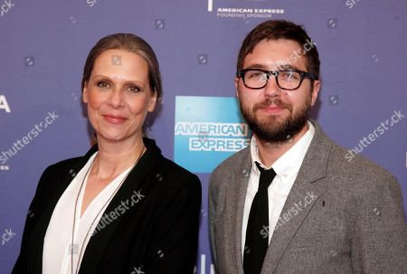 """Actress Amy Morton, left, and director Lance Edmands, right, attend the premiere of """"Bluebird"""" during the 2013 Tribeca Film Festival at the SVA Theatre on in New York"""