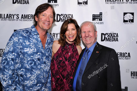 """Kevin Sorbo, Sandra Lynn Sorbo and Producer Gerald R. Molen seen at D'Souza Media Premiere of """"Hillary's America"""", in Los Angeles, CA"""
