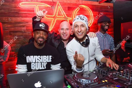 Stock Picture of Jermaine Dupri, left, Noah Tepperberg, middle, and DJ Vice, right, are seen at Elyx presents TAO Nightclub at Sundance, in Park City, Utah