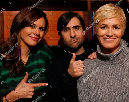 """The cast of """"The Overnight,"""" Naomi Scott, Jason Schwartzman,and Judith Godreche are seen at the Indiewire Photo Studio at Chase Sapphire on Main during the 2015 Sundance Film Festival, in Park City, Utah"""