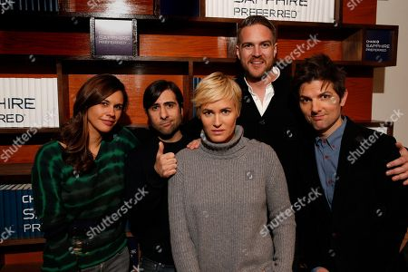 """The cast of """"The Overnight,"""" Naomi Scott, Jason Schwartzman, Judith Godreche, Patrick Brice and Adam Scott are seen at the Indiewire Photo Studio at Chase Sapphire on Main during the 2015 Sundance Film Festival, in Park City, Utah"""