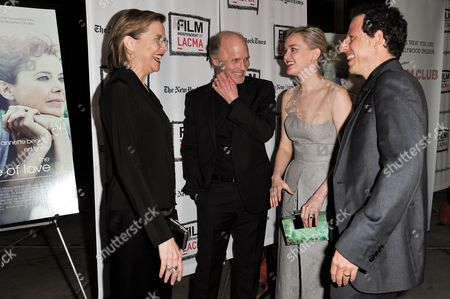 "From left, Annette Bening, Ed Harris, Jess Weixler, and Arie Posin arrive at the LA Premiere Screening of ""The Face of Love"" on in Los Angeles"
