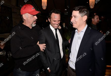 """From left to right, Nick Searcy, actor Walton Goggins, and President, Original Programming of FX Networks Eric Schrier attend the screening for the television series finale of FX's """"Justified"""" in Los Angeles on"""
