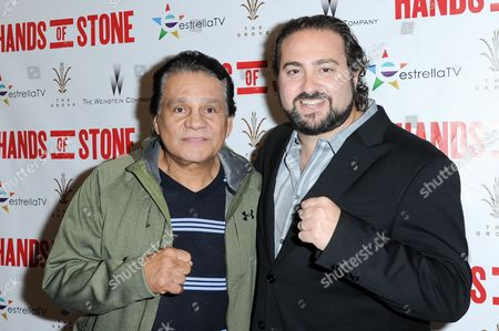 """Roberto Duran, left, and Jonathan Jakubowicz attend the LA Special Screening of """"Hands of Stone"""", in Los Angeles"""