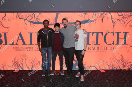 "Stock Picture of Brandon Scott, Wes Robinson, Director Adam Wingard and James Allen McCune seen at Lionsgate's ""Blair Witch"" screening at 2016 Comic-Con, in San Diego, CA"