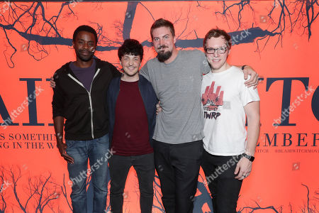 "Brandon Scott, Wes Robinson, Director Adam Wingard and James Allen McCune seen at Lionsgate's ""Blair Witch"" screening at 2016 Comic-Con, in San Diego, CA"