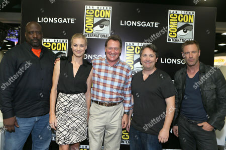 Writer/Executive Producer Kevin Grevioux, Yvonne Strahovski, Producer Gary Lucchesi, Director Stuart Beattie and Aaron Eckhart seen at Lionsgate's 'I, Frankenstein' Talent Signing at 2013 Comic-Con, on Friday, July, 19, 2013 in San Diego, Calif