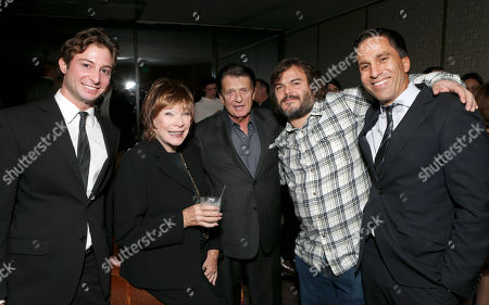 """ICM's Ared Ceizler, Shirley MacLaine, ICM's Jack Gilardi, Jack Black and ICM's Justin Deanda attend a celebration for """"Bernie"""" by Millennium Entertainment, in Los Angeles"""