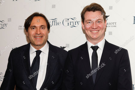 "Donald Rosenfeld, left, and Andreas Roald, right, attend the premiere of ""Effie Gray"" at The Paris Theatre, in New York"