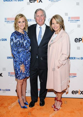 """Stephanie Soechtig, John Feinblatt, and Katie Couric attend the premiere of """"Under The Gun"""", hosted by The Cinema Society,, in New York"""