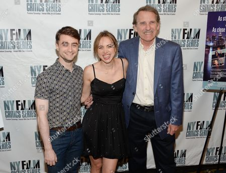 """Actors Daniel Radcliffe, left, Zoe Kazan and Rolling Stone film critic Peter Travers attend the New York Film Critics Series screening of """"What If"""" at the AMC Empire 25 on in New York"""