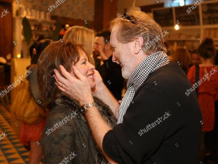 """From left, Jeanie Hackett, Creative Consultant and actor Harry Groener celebrate during a reception for New York's Rattlestick Playwrights Theater to celebrate its upcoming Los Angeles production of Daniel Talbott's """"Slipping"""" held at the Beachwood Cafe on in Los Angeles, Calif"""