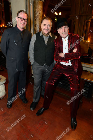 David Coulter, Brian Cox and Richard Strange at the filming of Richard Strange's A Mighty Big If in association with Soho charity The House of St Barnabas and HiBROW.tv, a content platform for the Arts, on in London