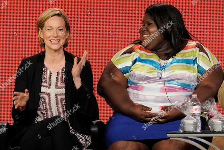 """Laura Linney, left, a cast member in the television series """"The Big C: hereafter,"""" answers a question as fellow cast member Gabourey Sidibe looks on at the Showtime Winter TCA Tour at the Langham Huntington Hotel, in Pasadena, Calif"""