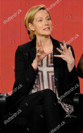 """Laura Linney, a cast member in the television series """"The Big C: hereafter,"""" makes a point during a panel discussion on the show at the Showtime Winter TCA Tour at the Langham Huntington Hotel, in Pasadena, Calif"""