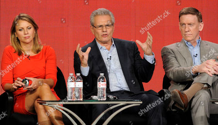 "Armen Keteyian and Lara Logan, correspondents on the program ""60 Minutes of Sports,"" and the show's co-executive producer Bill Owens take part in panel discussion on the show at the Showtime Winter TCA Tour at the Langham Huntington Hotel, in Pasadena, Calif"