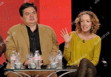 "Darlene Hunt, right, executive producer of the television series ""The Big C: hereafter,"" and cast member Oliver Platt take part in a panel discussion on the show at the Showtime Winter TCA Tour at the Langham Huntington Hotel, in Pasadena, Calif"