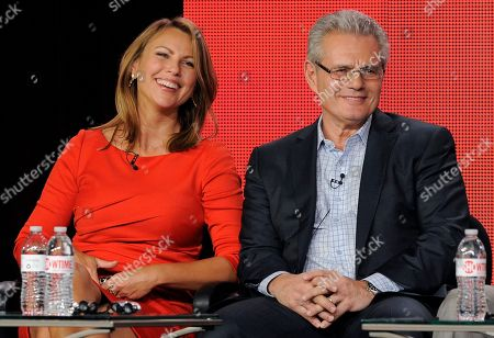 "Lara Logan, left, and Armen Keteyian, correspondents on the television program ""60 Minutes of Sports,"" take part in a panel discussion on the show at the Showtime Winter TCA Tour at the Langham Huntington Hotel, in Pasadena, Calif"