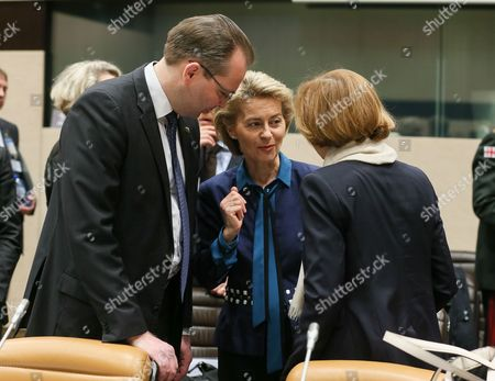 (L-R) Finnish Defense Minister Jussi Niinisto, German Defense Minister Ursula von der Leyen and French Defense Minister Florence Parly attend the second day of NATO Defense Ministers council with resolute support operational partner nations at alliance headquarters, in Brussels, Belgium, 09 November 2017. NATO counterparts are on the second day of two days of talks looking to expand the military alliance's command structure and drum up more troop contributions for Afghanistan.
