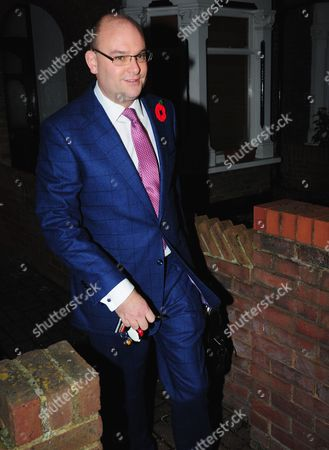 Stock Image of Alex Sawyer, husband of Priti Patel, leaving their South East London home