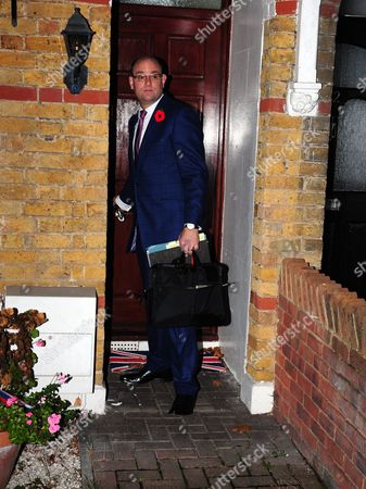Stock Photo of Alex Sawyer, husband of Priti Patel, leaving their South East London home