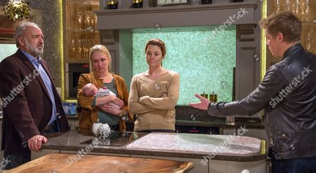 Ep 7999 Monday 27th November 2017  At Home Farm, there's lots of confusion when Rebecca White, as played by Emily Head, returns to find Robert Sugden, as played by Ryan Hawley, there with Seb. Robert is caught out when Chrissie White, as played by Louise Marwood, confronts him about Rug Tree Bonds and Lawrence White, as played by John Bowe, is broken when he realises Robert has been scamming them all for ages. Robert insists he's a changed man and genuine as he says he wants to be a better person because of Seb.