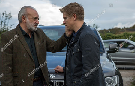 Ep 8000 Tues 28th November 2017  Chrissie White, as played by Louise Marwood, witnesses Lawrence White, as played by John Bowe, talking intimately with Robert Sugden, as played by Ryan Hawley, and can't believe and soon Chrissie and Rebecca realise Robert seduced their father.