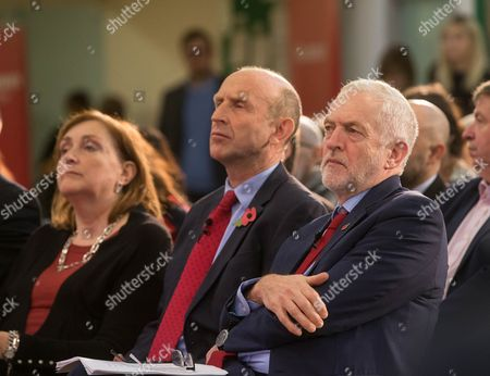 Labour Leader, Jeremy Corbyn sitting with John Healy and North Kensington MP, Emma Dent Coad at the launch of Labour's 'Make Homes Safe' campaign in which he pledges to retrofit sprinklers to all high-rise buildings.
