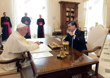 Stock Image of Pope Francis meets the President of Paraguay Horacio Manuel Cartes Jara in the Private Library of the Apostolic Palace.