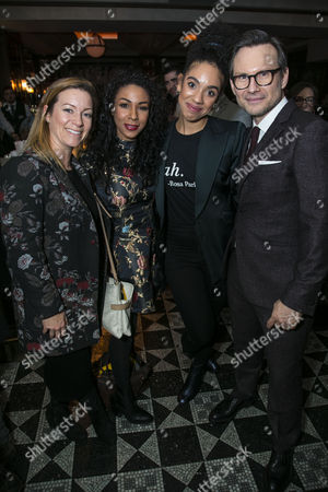 Katie Lyons, Kathryn Drysdale, Pearl Mackie and Christian Slater (Ricky Roma)