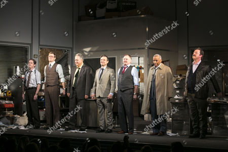 Oliver Ryan (Baylen), Kris Marshall (John Williamson), Stanley Townsend (Shelley Levene), Christian Slater (Ricky Roma), Robert Glenister (Dave Moss), Don Warrington (George Aaronow) and Daniel Ryan (Lingk) during the curtain call