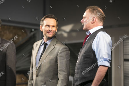 Christian Slater (Ricky Roma) and Robert Glenister (Dave Moss) during the curtain call